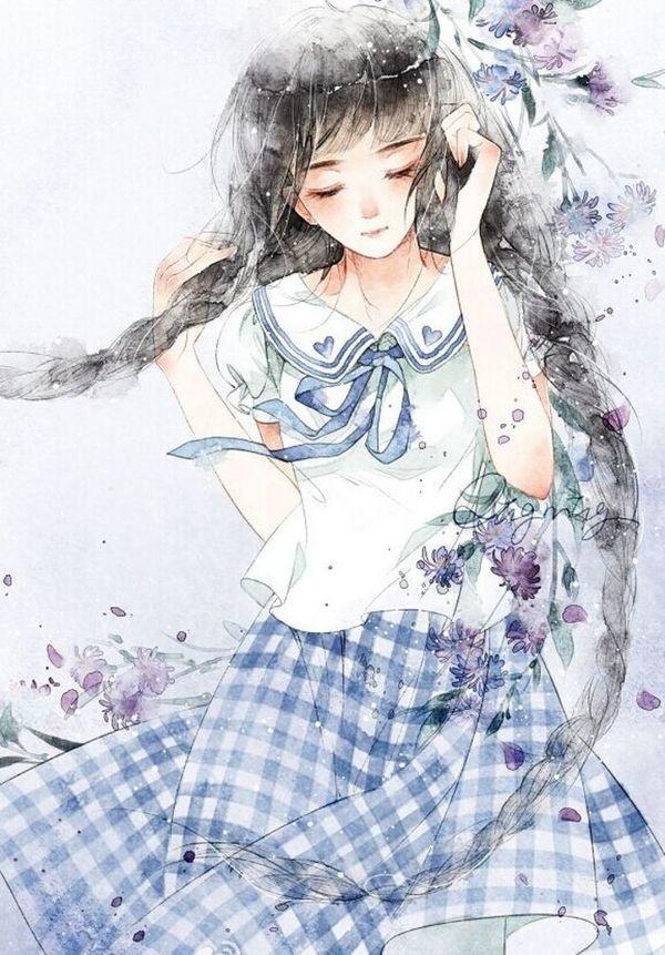 心里再疼,也要强颜欢笑。古风插画系女生QQ皮肤图片