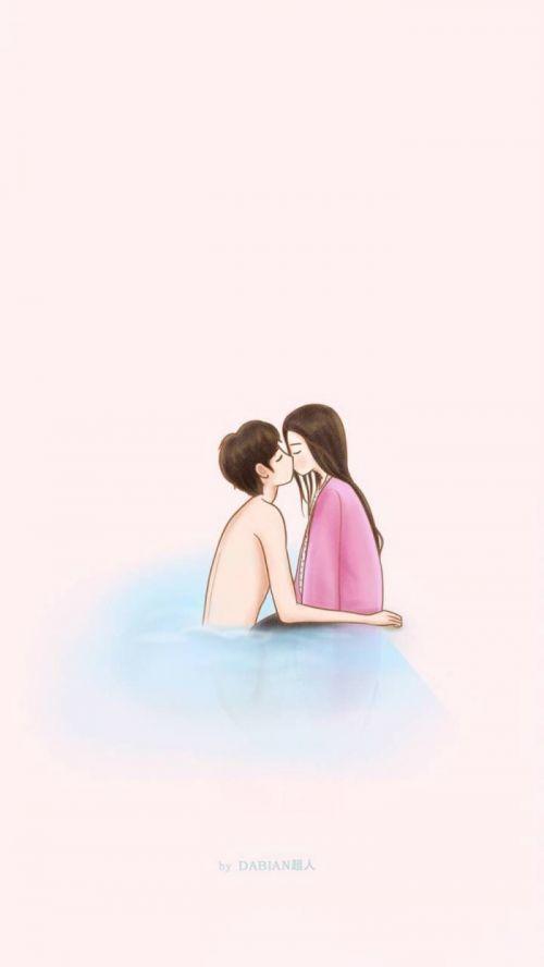温馨浪漫情侣手绘卡通皮肤